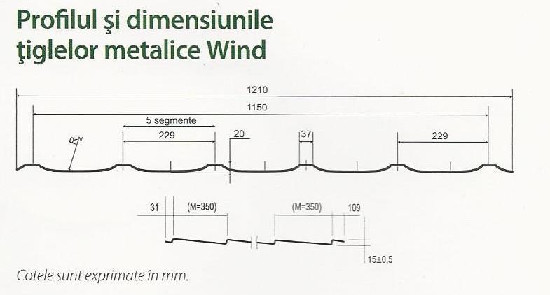 profilul si dimensiunile tiglelor metalice wind